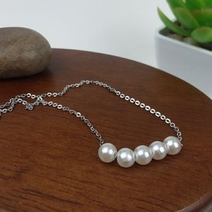 Faux Pearl Silver Tone Chain Necklace NWT 16 inch